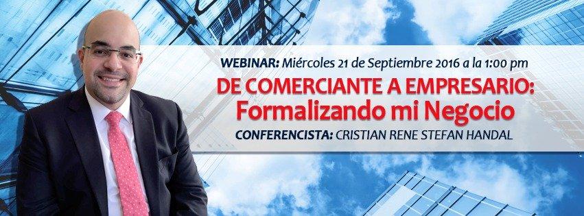 Webinar DE COMERCIANTE A EMPRESARIO: Formalizando Mi Negocio
